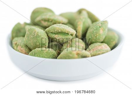 Wasabi Coated Peanuts (isolated On White)