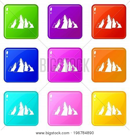 Mountain icons of 9 color set isolated vector illustration