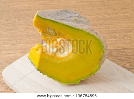 Vegetable Fresh Slice Pumpkin High in Vitamin A B C and Minerals on A Wooden Cutting Board.