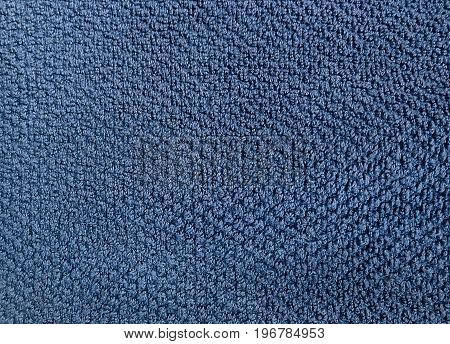 Fabric and Textile Close Up of Blue Cotton Towel or Terry Texture Background with Copy Space for Text Decoration.