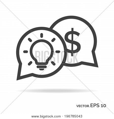 Idea money outline icon black color isolated on white background