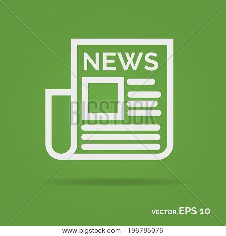News outline icon white color isolated on green background