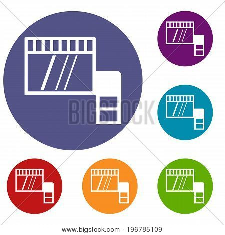 Memory card icons set in flat circle red, blue and green color for web