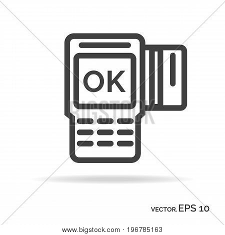 Payment outline icon black color isolated on white background