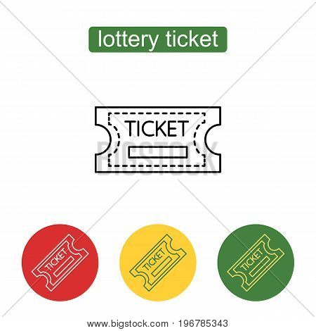 Ticket icon. Lottery tickets. Chance to win the jackpot. Outline illustration of lottery concept for web design, mobile application. Editable stroke.