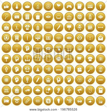 100 creative marketing icons set in gold circle isolated on white vector illustration