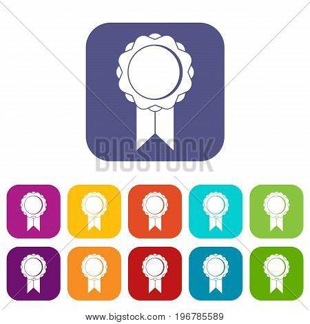 Rosette with ribbon icons set vector illustration in flat style in colors red, blue, green, and other