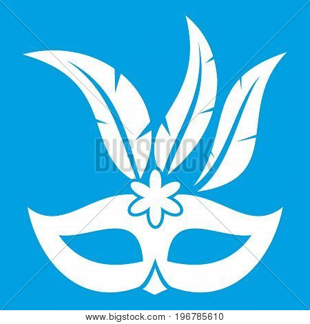 Carnival mask icon white isolated on blue background vector illustration