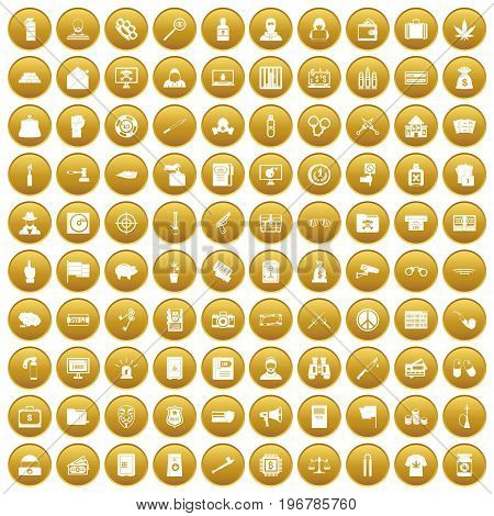 100 criminal offence icons set in gold circle isolated on white vector illustration