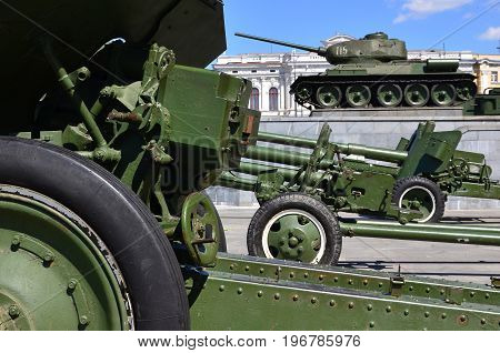 Photo Of Three Guns Of The Soviet Union Of The Second World War Against The Background Of The Green