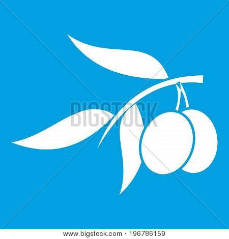 Olive tree branch with two olives icon white isolated on blue background vector illustration