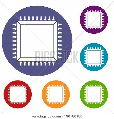 Computer microchip icons set in flat circle red, blue and green color for web