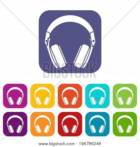 Headphones icons set vector illustration in flat style in colors red, blue, green, and other
