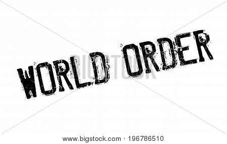 World Order rubber stamp. Grunge design with dust scratches. Effects can be easily removed for a clean, crisp look. Color is easily changed.