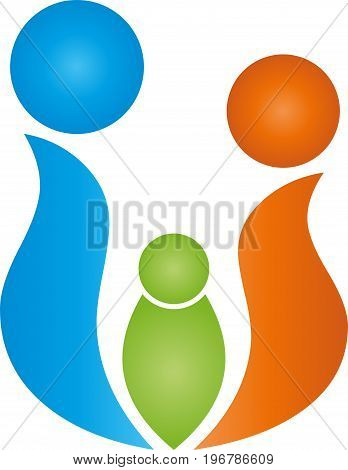 Three people in color, people and family logo