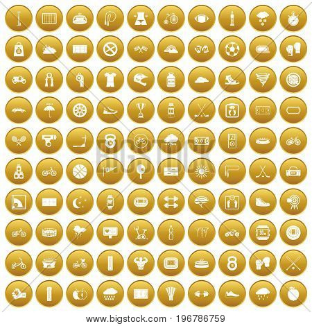 100 cycling icons set in gold circle isolated on white vector illustration