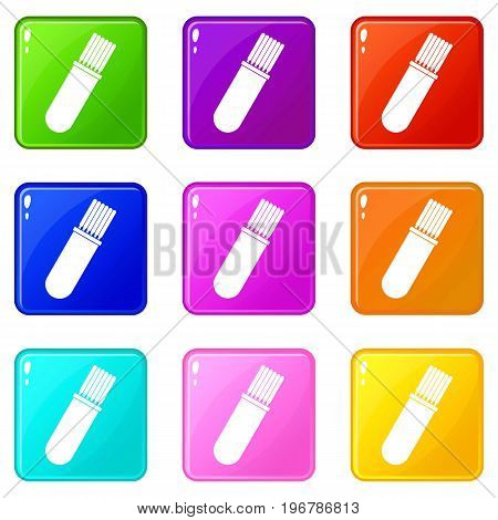 Welding rods icons of 9 color set isolated vector illustration