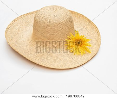 Straw Hat with Yellow Daisy