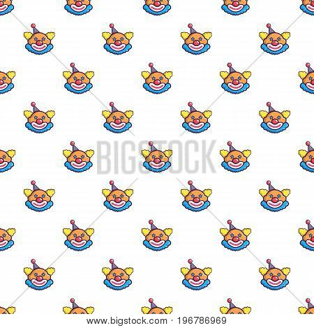 Funny clown head pattern seamless repeat in cartoon style vector illustration