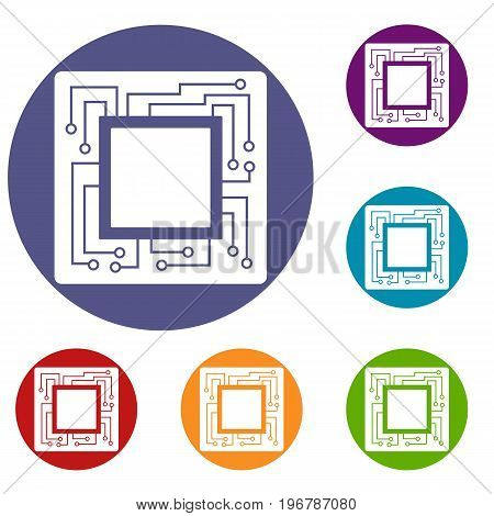 Microchip icons set in flat circle red, blue and green color for web