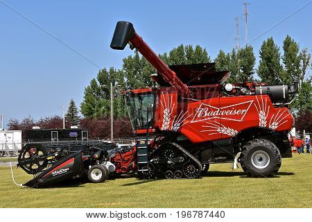 MOORHEAD, MINNESOta, July 22, 2017: Anheuser-Busch sponsored Grower Days honoring farming who grow barley for the malting process which included displaying the Budweiser custom painted self propelled combine.