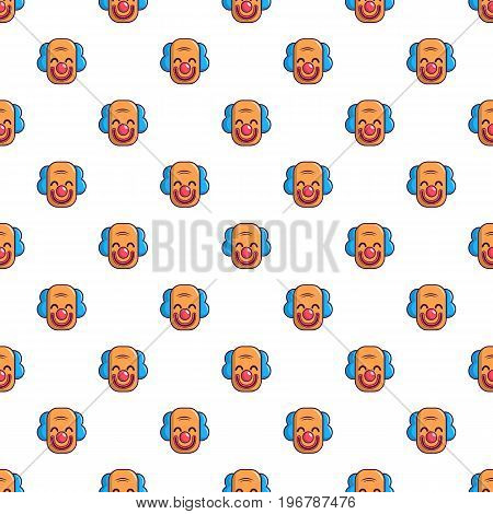 Smiling clown head pattern seamless repeat in cartoon style vector illustration