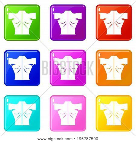 Human back icons of 9 color set isolated vector illustration
