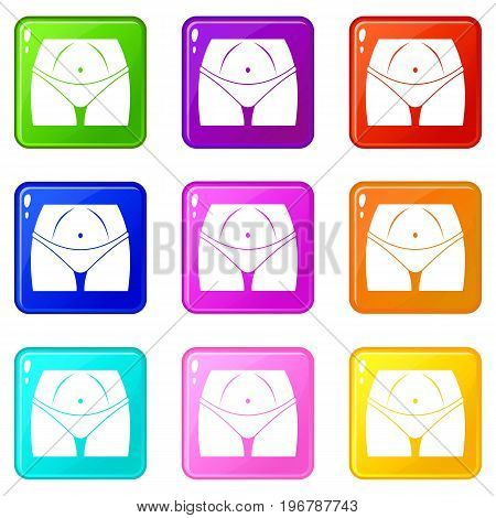 Slim woman body in panties icons of 9 color set isolated vector illustration