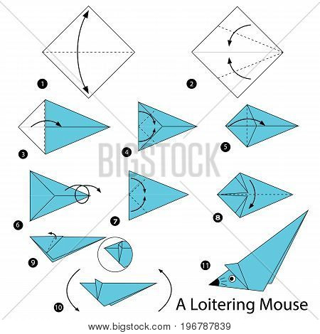 step by step instructions how to make origami A Loitering Mouse