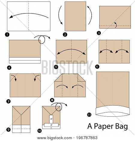 step by step instructions how to make origami A Paper Bag