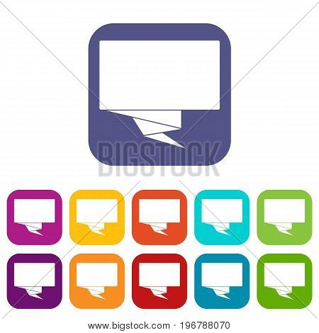 Square banner icons set vector illustration in flat style in colors red, blue, green, and other
