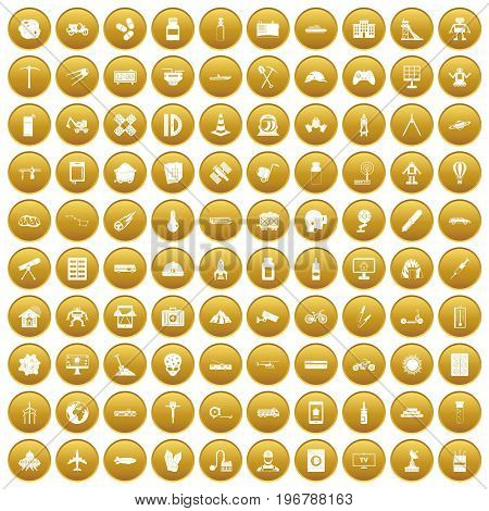 100 development icons set in gold circle isolated on white vector illustration