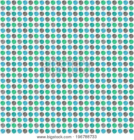 Blue, Mint, Gray Pastel Polka Dot Seamless Pattern, Acrylic Dotted Background.