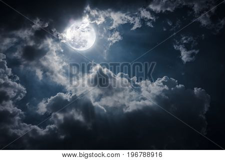 Night Landscape Of Sky With Cloudy And Bright Full Moon With Shiny.
