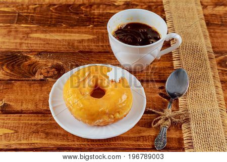 Wooden Table Coffee Sweets Donuts Breakfast