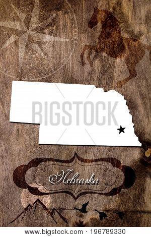 Poster Nebraska state map outline. Styling for tourism.