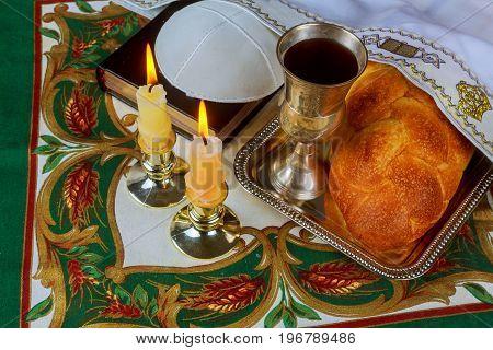 Jewish Holiday Sabbath Matzoh Passover And Candelas