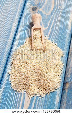 Sesame Seeds On Wooden Boards