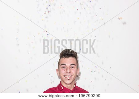 Head And Shoulders Shot, Falling Confetti, White Background Studio, One Caucasian Teenager Smiling C
