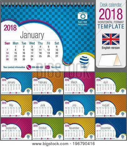 Desk triangle calendar 2018 colorful template. Size: 21 cm x 15 cm. Format A5. Vector image. English version