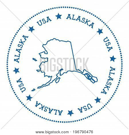 Alaska Vector Map Sticker. Hipster And Retro Style Badge With Alaska Map. Minimalistic Insignia With