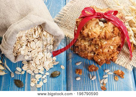 Oatmeal Cookies, Flakes In Jute Bag And Ears Of Oat, Concept Of Healthy Dessert