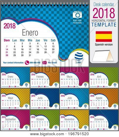 Desk triangle calendar 2018 colorful template. Size: 21 cm x 15 cm. Format A5.  Vector image. Spanish version