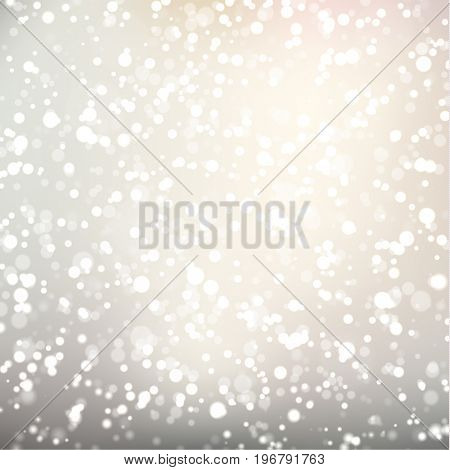 Abstract falling sparkles on light grey background - raster version