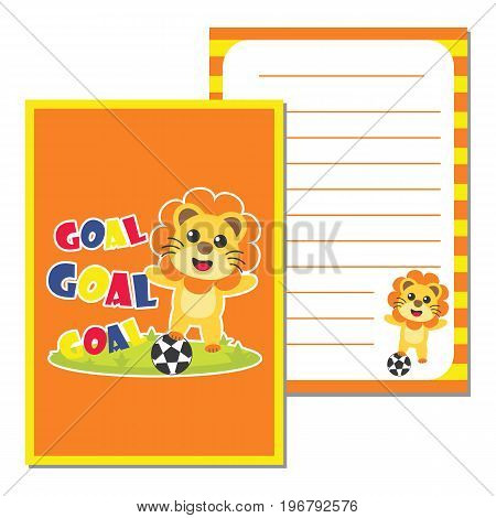 Cute paper note with cute lion plays football vector cartoon illustration for kid paper, scrap book and postcard design