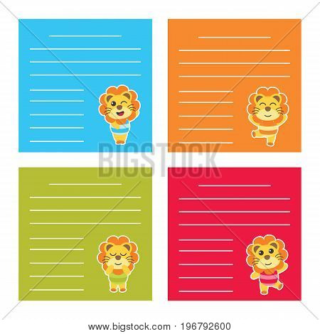 Colorful memo paper with cute lion boys on colorful background vector cartoon illustration for kid memo paper and notebook paper design
