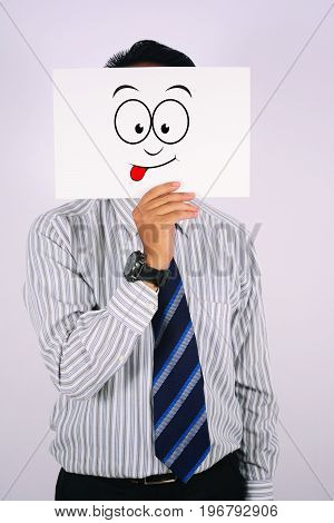 young Businessman Wearing glad Face Mask isolated on white