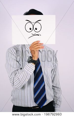 young Businessman Wearing wrath Face Mask isolated on white