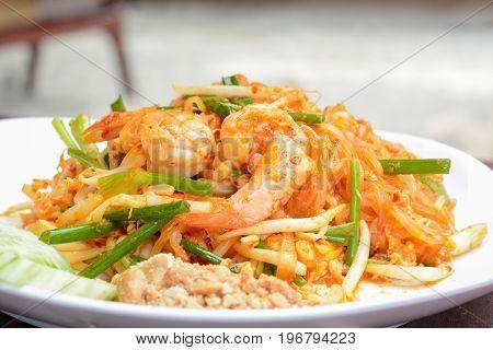 Thai food - stir fried noodles with prawns (or Pad Thai)