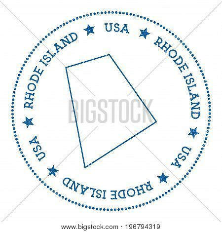 Rhode Island Vector Map Sticker. Hipster And Retro Style Badge With Rhode Island Map. Minimalistic I